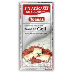 Czekolada biała z jagodami goji bez cukru, bezglutenowa 75g Torras