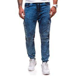 Niebieskie spodnie joggery bojówki męskie Denley 4257 - NIEBIESKI