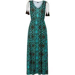 Długa sukienka w etniczny deseń bonprix brązowo-turkusowy wzorzysty