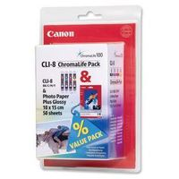 oryginalny multipack Canon CLI-8CMY + papier photo 10x15 / 50 arkuszy
