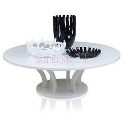 Biały, okrągły stół, wysoki połysk, styl modernistyczny.