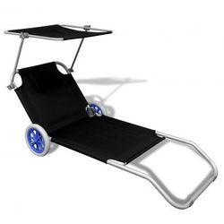 Składany czarny leżak z daszkiem i aluminiowymi kołami Zapisz się do naszego Newslettera i odbierz voucher 20 PLN na zakupy w VidaXL!