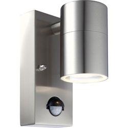 Zewnętrzna LAMPA ścienna STYLE 3201S Globo halogenowa OPRAWA elewacyjna IP44 outdoor z czujnikiem ruchu srebrny