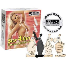 Secura Sex 4 Fun Condoms Sortiment Zestaw różnego rodzaju prezerwatyw 24 sztuki