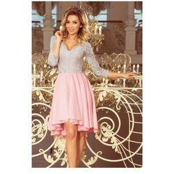 f4ee4a70a6 210-5 NICOLLE - sukienka z dłuższym tyłem z koronkowym dekoltem - PASTELOWY  RÓŻ +