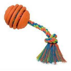 Zabawka dla zwierząt Nobby Rubber Line gumowa piłka ze sznurem 30cm Pomarańczowa