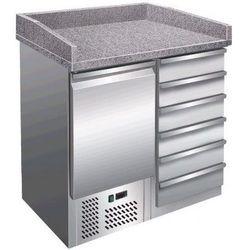 Stacja do pizzy - 1 drzwi, 6 szuflad   +2° do +8°C   granitowy blat