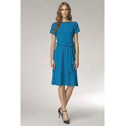 Niebieska Wyjątkowa Sukienka z Suwakiem