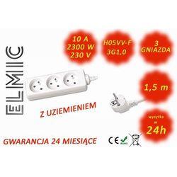 Przedłużacz elektryczny listwa bez włącznika - 1.5 mb - WS NF 03 / 1.5 / 1.0 / K - ELMIC biały
