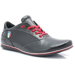 223f99ea3 KENT 511I CZARNE - Skórzane buty męskie sportowe casual - Czarny WYPRZEDAŻ  -20% 1