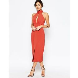C/meo Collective Stolen Midi Dress in Rust - Orange