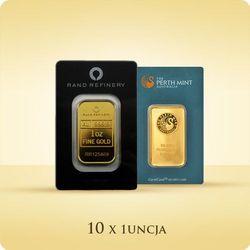 10 x 1 uncja Sztabka złota CertiCard