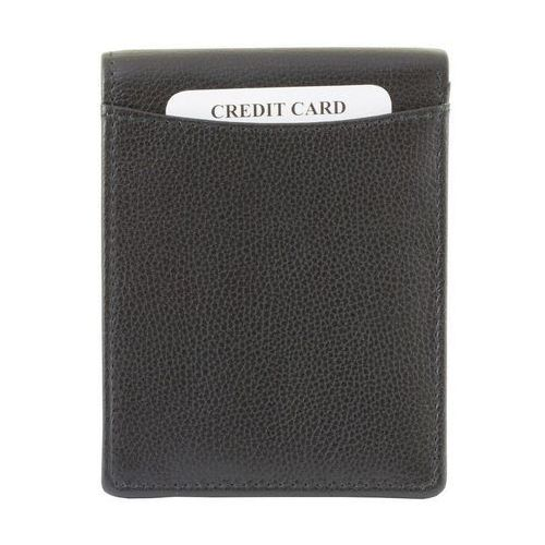3f73e495691cd Ultra Cienki Skórzany Portfel Slim Zabezpieczenie Kart RFID Czarny - Czarny  mat