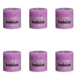 Świece rustykalne, Bolsius (100x100 mm) x6 Jasny fiolet Zapisz się do naszego Newslettera i odbierz voucher 20 PLN na zakupy w VidaXL!