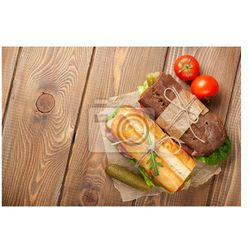 Obraz Two sandwiches with salad, ham, cheese