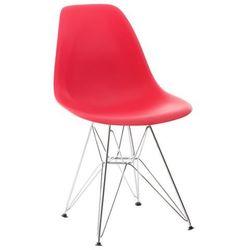 Krzesło z chromowanymi nogami, czerwone