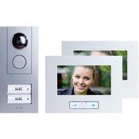 Domofon m-e modern-electronics Vistus VD 6720, Kompletny zestaw, Interkom drzwiowy z wideo, Dom dwurodzinny, Kolor: Srebrny, Biały