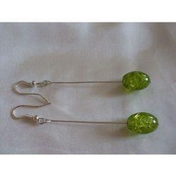 K-00085 Kolczyki z zielonymi koralikami crackle