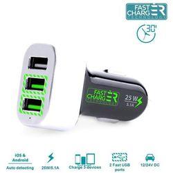 Rovens.pl PURO Mini Car Fast Charger - Ładowarka samochodowa 3 x USB 5.1A (czarny)