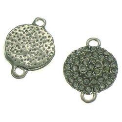 Łącznik do Shamballa z Cyrkoniami Moneta Srebrny Oksydowany 17x13mm 1szt - Srebrny ||Platerowany \ Moneta