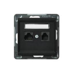 Ospel Sonata Gniazdo komputerowo - telefoniczne, MMC - Czarny Metalik - GPKT-R/K/m/33