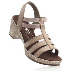 Sandały skórzane bonprix brunatny