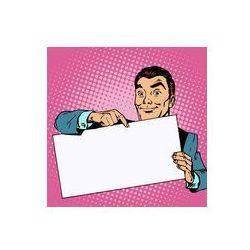 Foto naklejka samoprzylepna 100 x 100 cm - Człowiek z banerów reklamowych miejscem na tekst