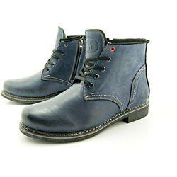 KENT 238 GRANAT - Skórzane buty zimowe ocieplone naturalnym futrem