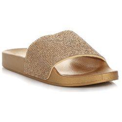 7a41b31b Modne Buty Damskie Klapki z kryształkami renomowanj marki Ideal Shoes Złote  (kolory)