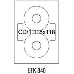 Etykiety samoprzylepne na CD/DVD białe Emerson 100ark. A4