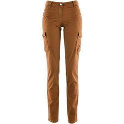 Spodnie bojówki ze stretchem bonprix brązowo-złoty