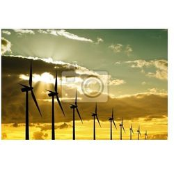 Obraz Turbiny wiatrowe na zachodzie słońca