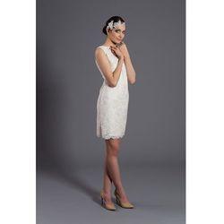 Sukienka z koronką D073. Ecru.