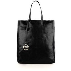 Czarny skórzany shopper bag