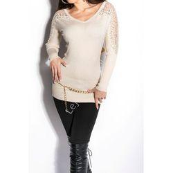 Dzianinowy sweter z cyrkoniami| swetry damskie