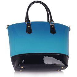 Niebieska lakierowana torebka damska z cieniowanym kolorem - czarny ||niebieski