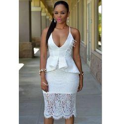 Biała midi sukienka z baskinką   koronkowa baskinka