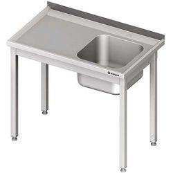 Stół ze zlewem jednokomorowym bez półki STALGAST 1400x600x850 prawy