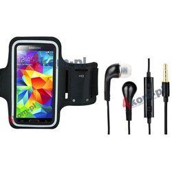 Zestaw 2w1 Etui armband opaska sportowa do biegania + Słuchawki Samsung Galaxy S6, S5, Note 4, 3, 2, Grand 2, Neo + - Czarna opaska / Czarne słuchawki
