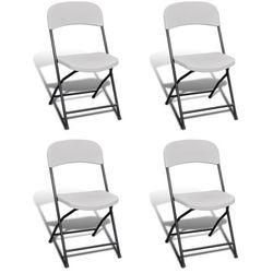 vidaXL Krzesła składane kempingowe, białe, 4 w zestawie, wykonane z HDPE Darmowa wysyłka i zwroty