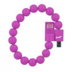 Kabel bransoletka beeyo micro USB ciemnoróżowa