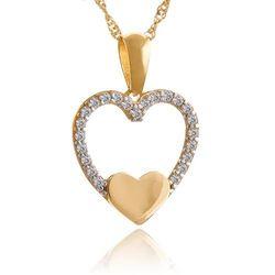 Złoty Komplet 585 Łańcuszek z Sercem GRAWER ZZ158
