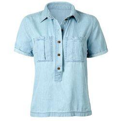 Tunika dżinsowa z krótkim rękawem bonprix jasnoniebieski