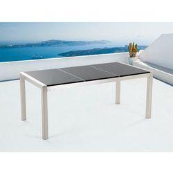 Stół czarny polerowany ze stali nierdzewnej 180cm - granitowy blat - dzielona płyta - GROSSETO