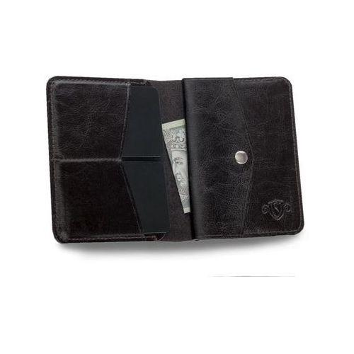 f47bd971284b5 Cienki skórzany męski portfel z bilonówką SOLIER SW15 SLIM CIEMNY BRĄZ