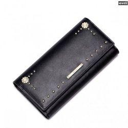 Modny skórzany portfel damski Czarny