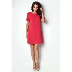 a44f98a3d1a906 suknie sukienki zolta trapezowa sukienka z gipiura (od Czerwona ...
