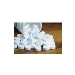 Foto naklejka samoprzylepna 100 x 100 cm - Medycyna jamy ustnej, paracetamol, białe tabletki.