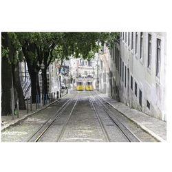 Fototapeta old trams in lisbon, detail of an old city transport, ancient art, tourism in the city