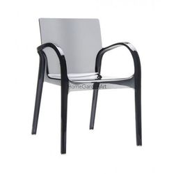 Designerskie krzesło do jadalni z poliwęglanu DejaVu czarne przeźroczyste